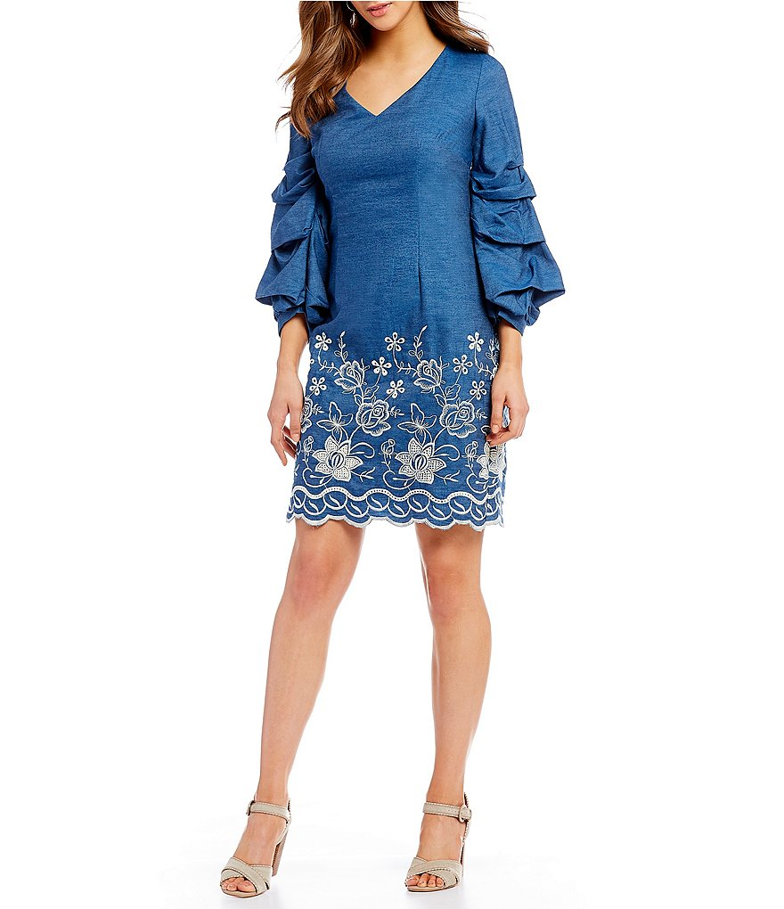 Leslie Fay Gathered Sleeve Embroidered Dress