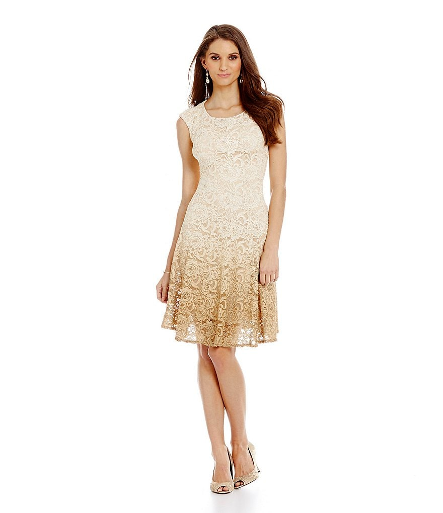 Leslie Fay Glitter Lace Fit-and-Flare Dress
