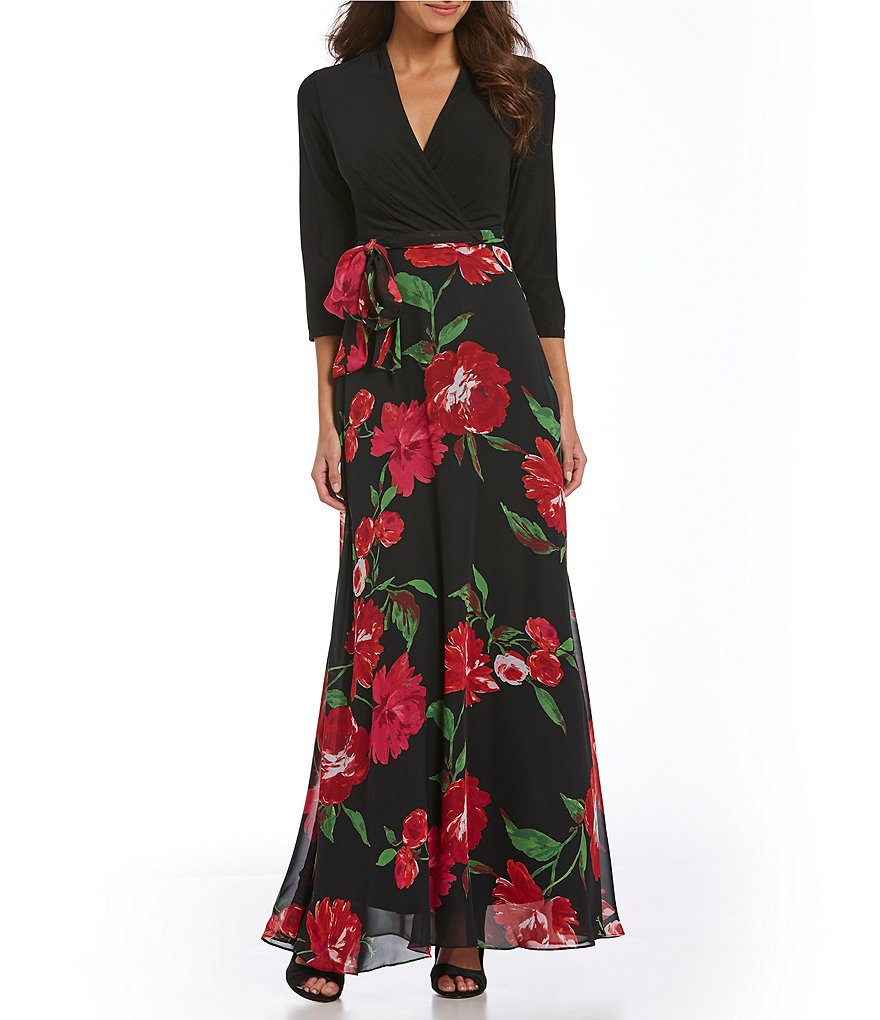 Leslie Fay Mixed Media Maxi Dress