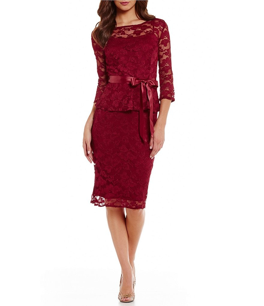 Leslie Fay Peplum Lace Dress