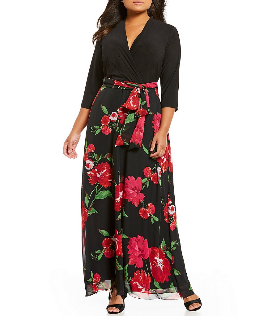 Leslie Fay Plus Mixed Media Floral Gown