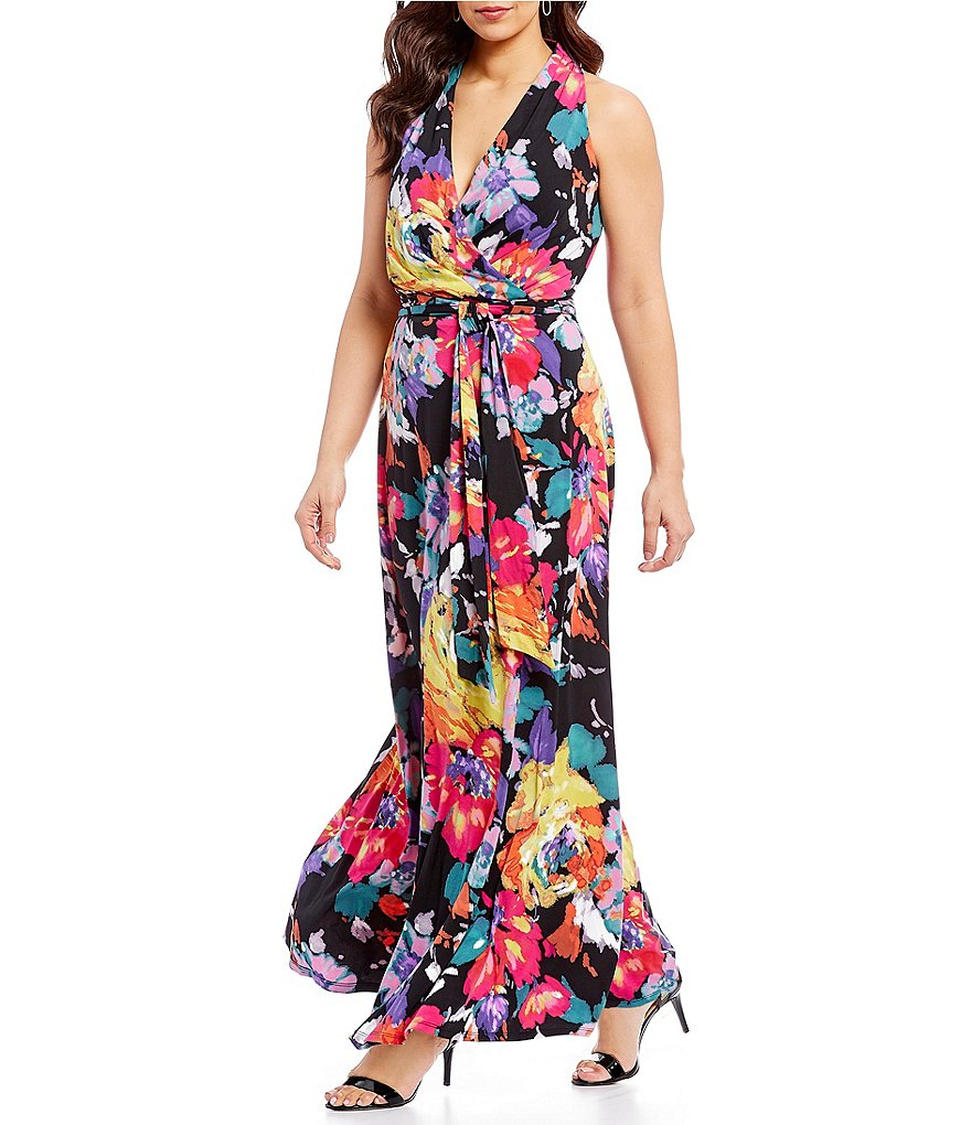 Leslie Fay Plus Printed Surplice Neckline Maxi Dress