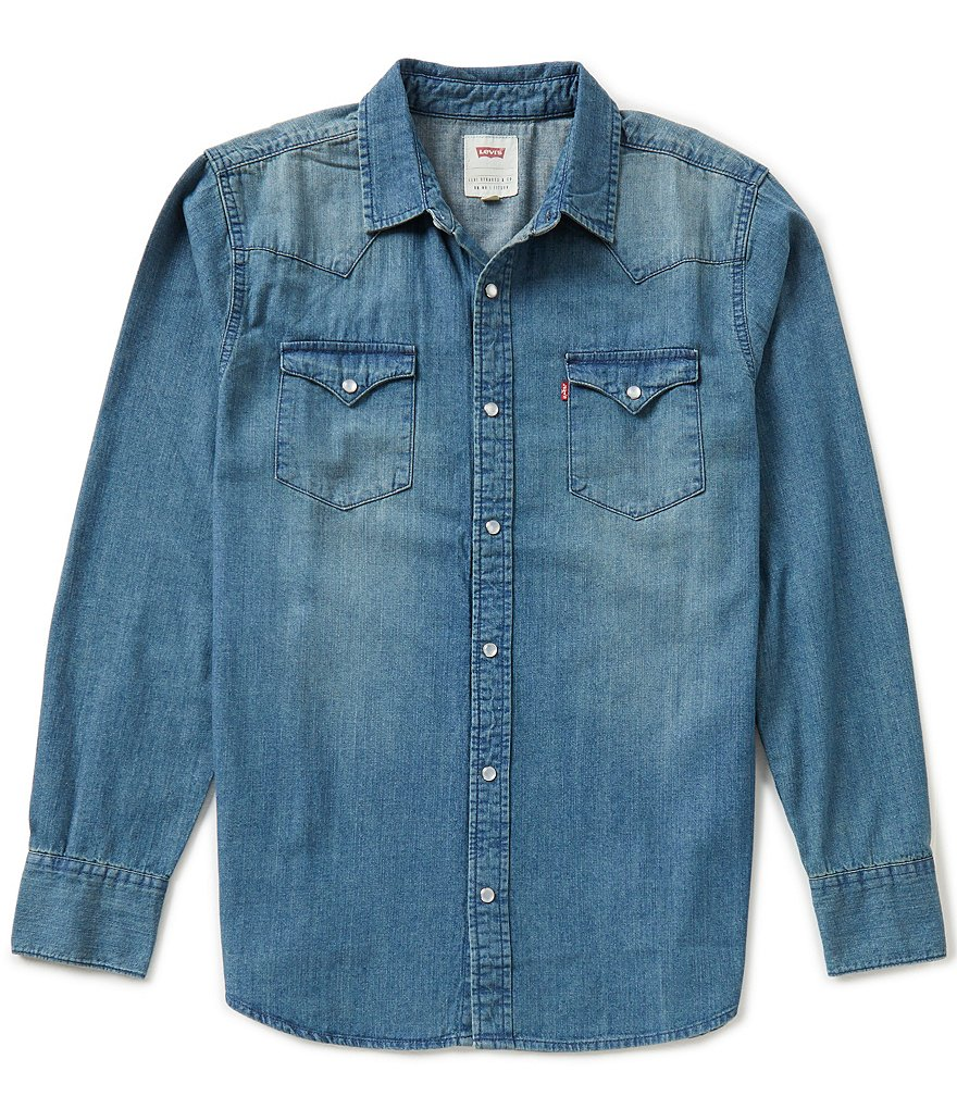Levi 39 S Barstow Solid Snap Front Denim Shirt Dillards