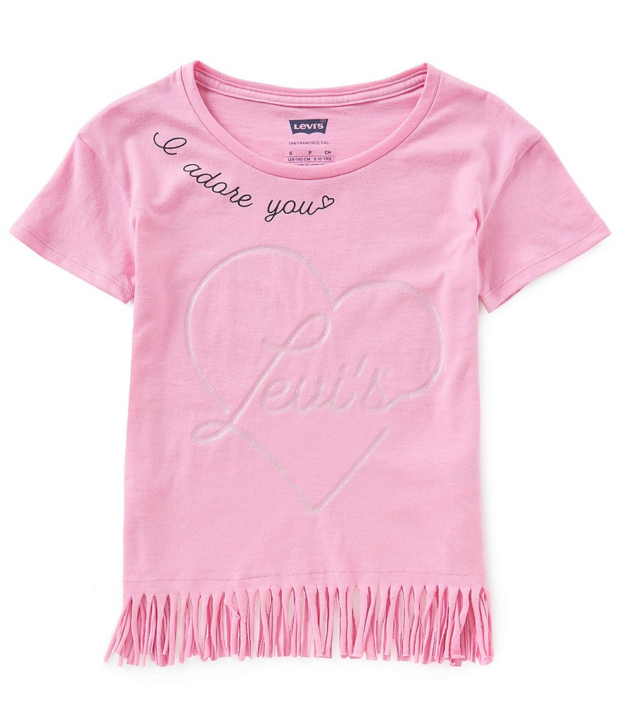 Levi's® Little Girls 2T-6X Fringe-Hem Heart Tee