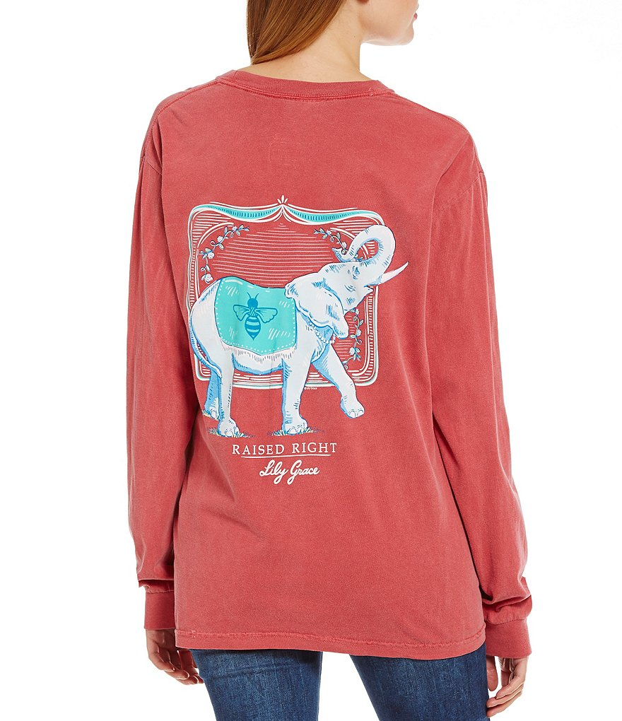 Lily Grace Long-Sleeve Elephant Graphic Tee