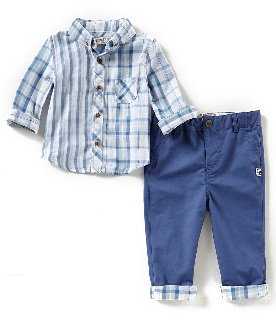 Little Brother Baby Boys 12-24 Months Plaid Button-Down Shirt & Denim Jeans Set