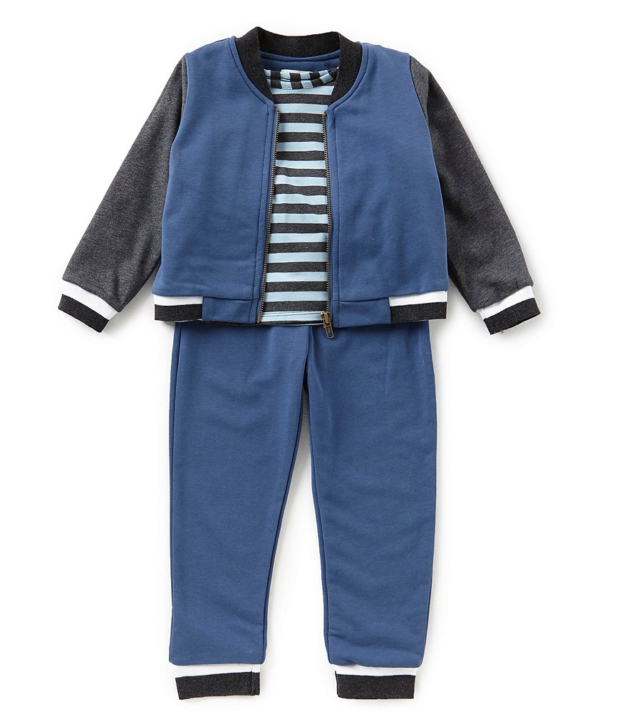 Little Brother Baby Boys Newborn-24 Months Bomber Jacket, Striped Shirt, & Pants 3-Piece Set