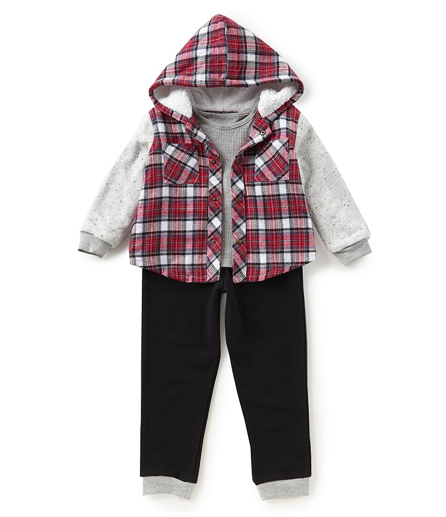 Little Brother Baby Boys Newborn-24 Months Plaid Snap-Front Jacket, Shirt, & Pants 3-Piece Set