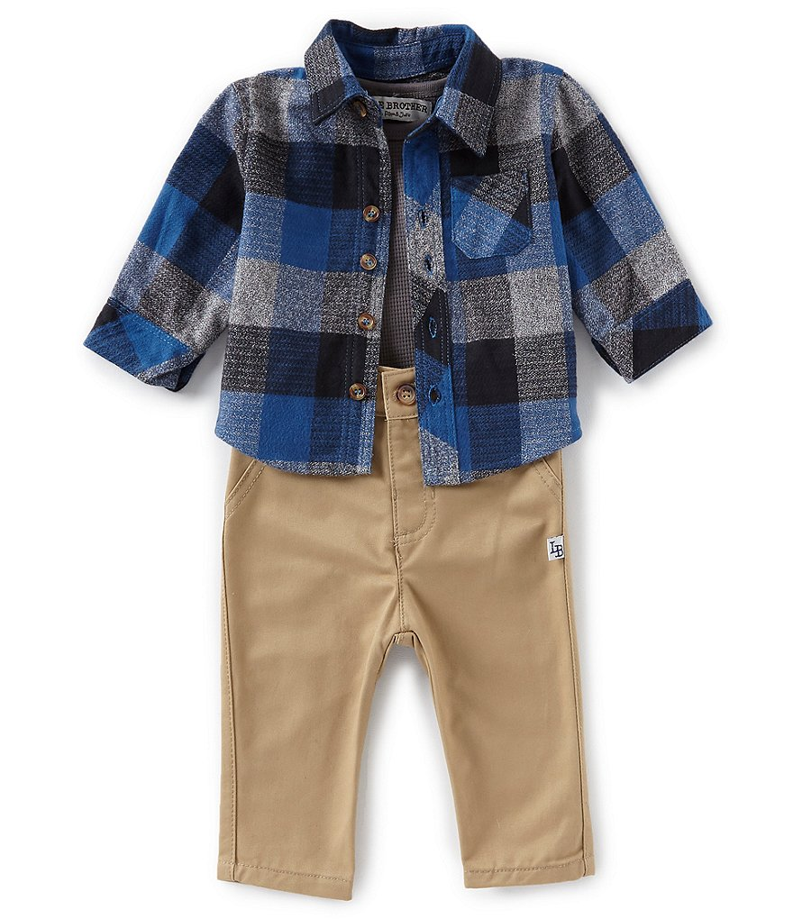Little Brother Baby Boys Newborn-24 Months Plaid Thermal Shirt & Solid Pants Set