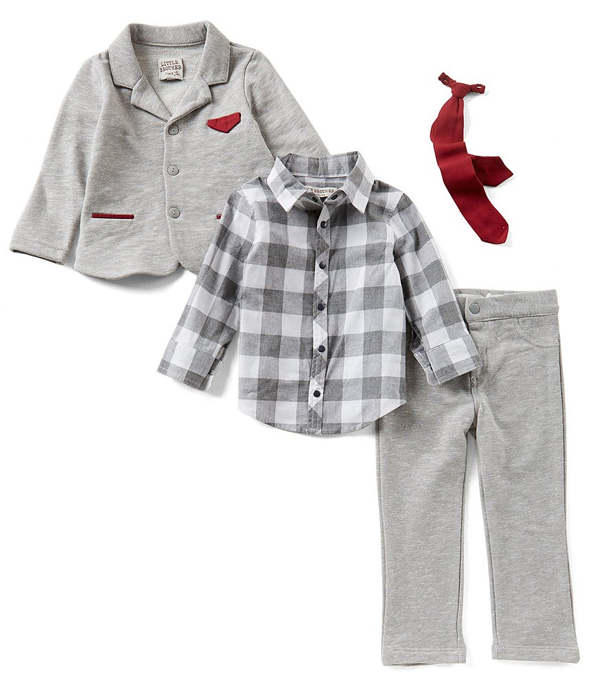 Little Brother Little Boys 2T-4T Checked Button-Down Shirt, Jacket, & Pants 3-Piece Set