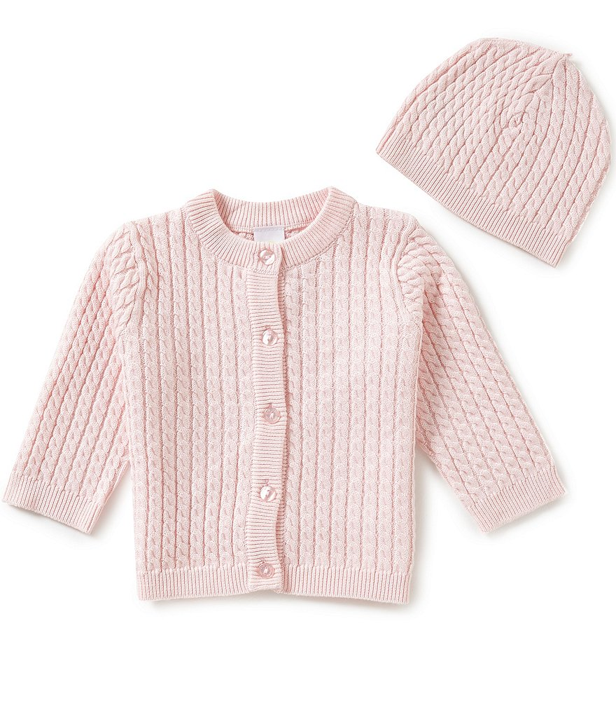 Little Me Baby Girls 3-12 Months Huggable Cable-Knit Sweater and Hat Set