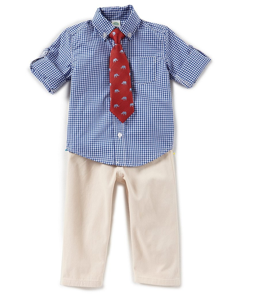 Little Me Baby Boys 12-24 Months Button-Down Checked Shirt, Pants, & Tie 3-Piece Set