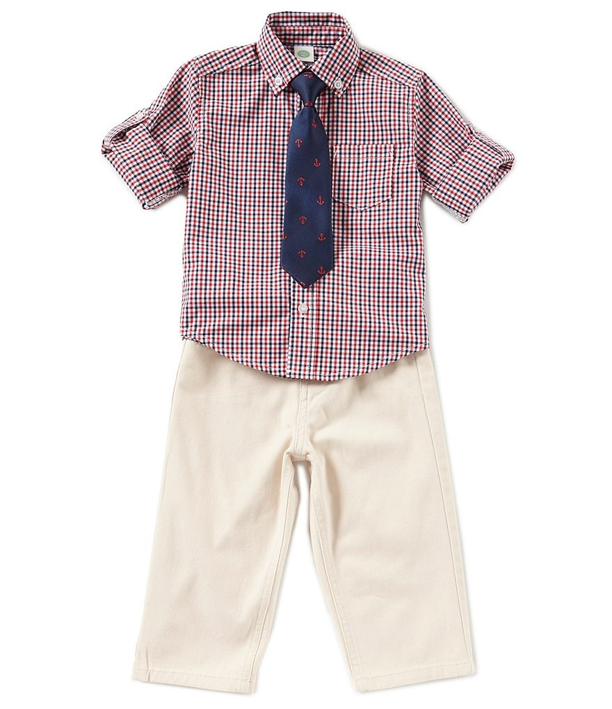 Little Me Baby Boys 12-24 Months Long-Sleeve Checked Shirt, Solid Pants & Patterned Tie Set