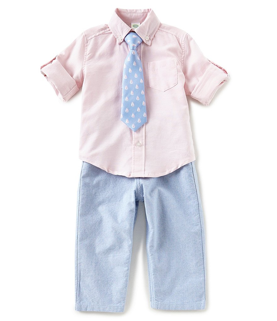 Little Me Baby Boys 12-24 Months Long-Sleeve Solid Shirt, Solid Pants & Patterned Tie Set