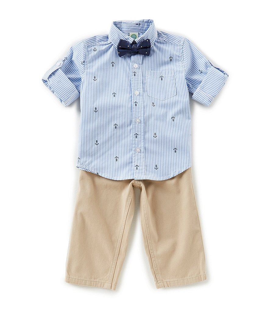 Little Me Baby Boys 12-24 Months Long-Sleeve Stripe Schiffli Shirt, Solid Pants & Bow Tie Set