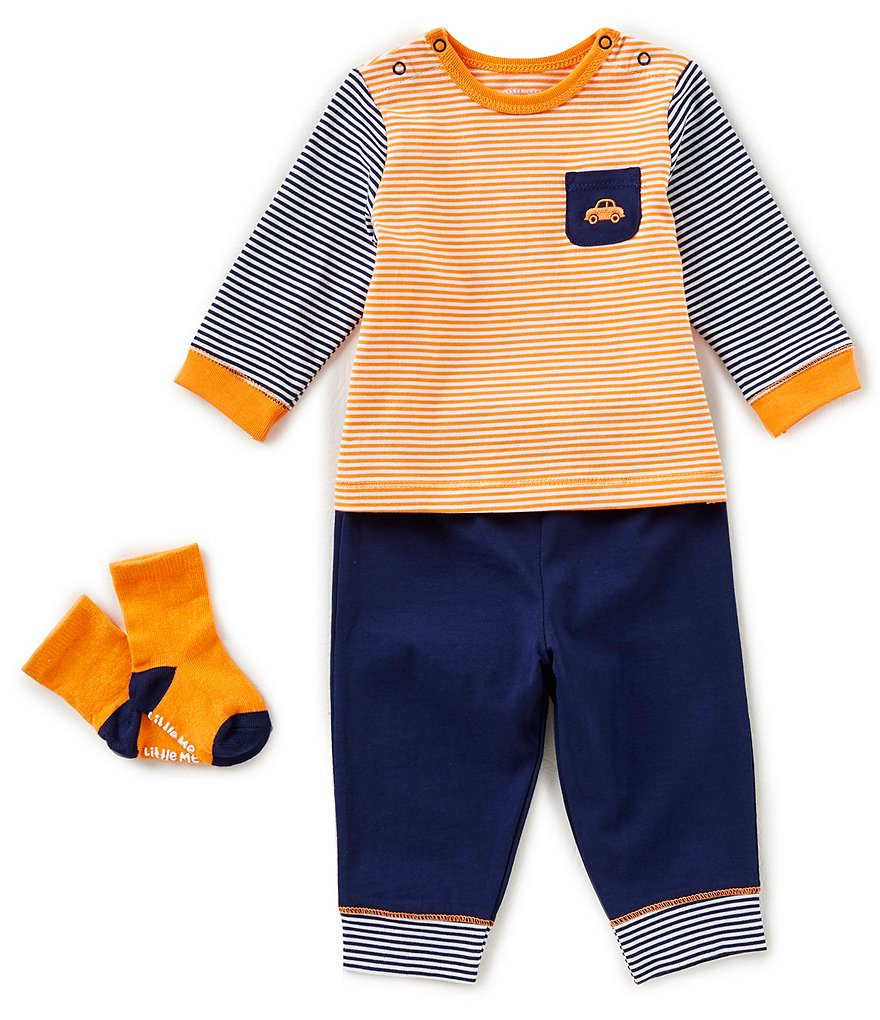 Little Me Baby Boys 3-12 Months Colorblock Car Top, Pants, & Socks 3-Piece Set