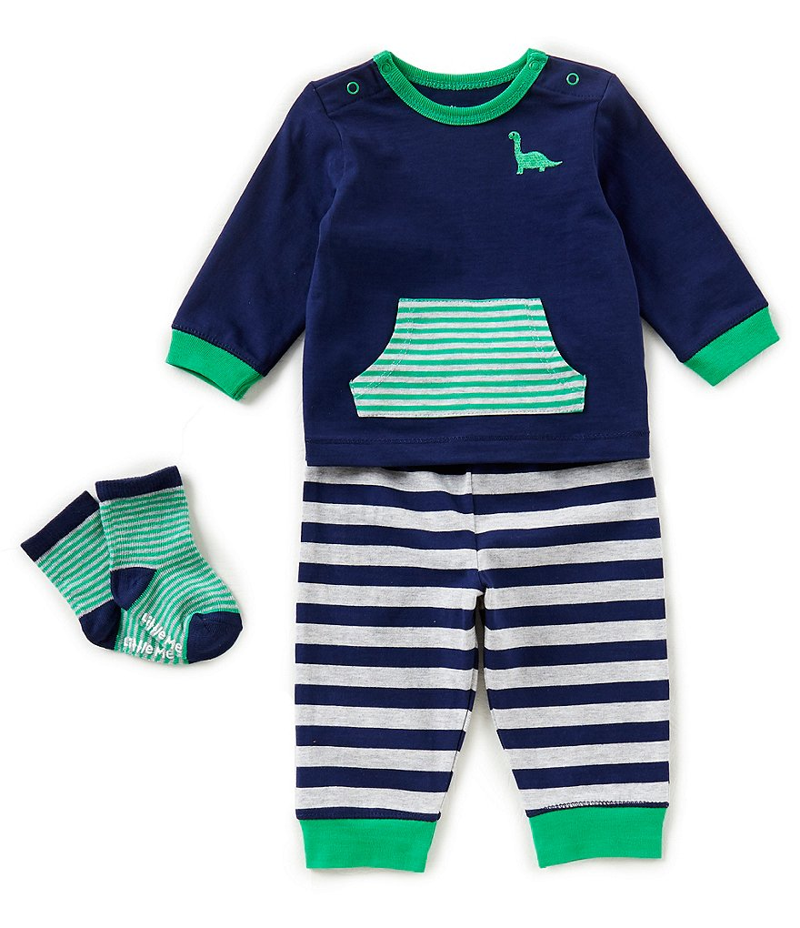 Little Me Baby Boys 3-12 Months Dino Long-Sleeve Top, Striped Pants, & Socks 3-Piece Set