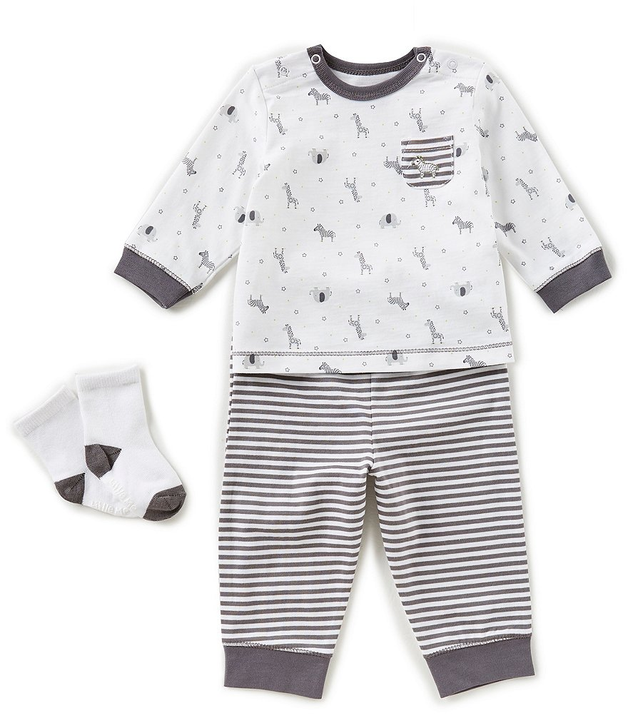 Little Me Baby Boys 3-12 Months Safari Top, Striped Pants, & Socks 3-Piece Set