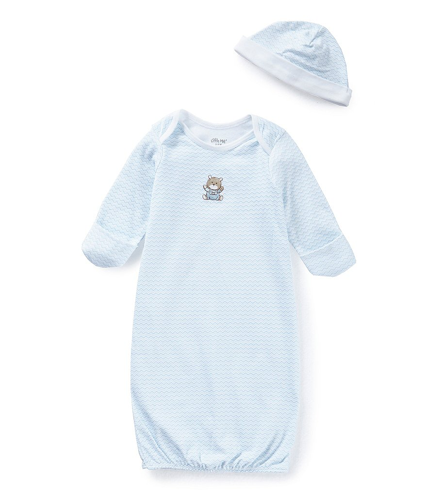 Little Me Baby Boys Newborn-3 Months Chevron Bear Gown & Hat Set