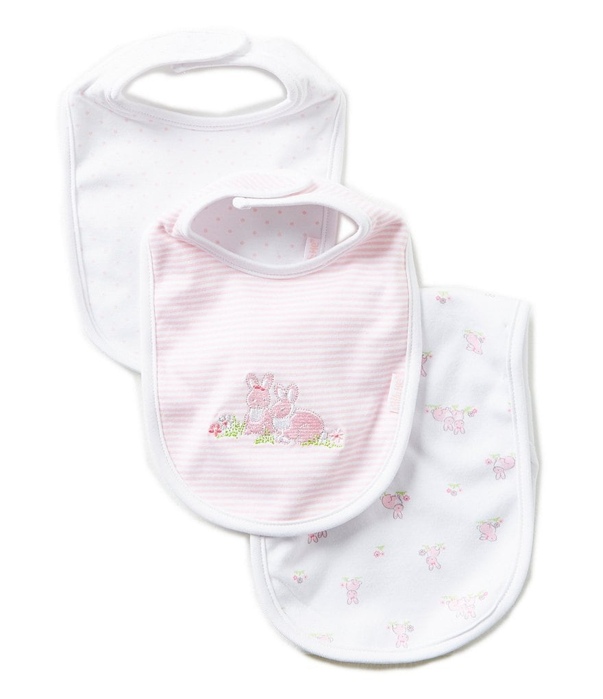Little Me Baby Bunnies Printed/Solid Bibs and Burpcloth Three-Piece Set