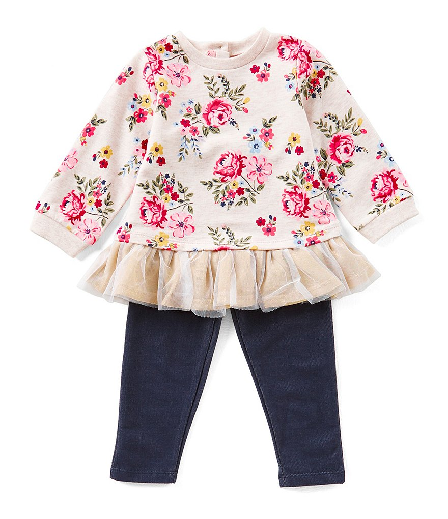 Little Me Baby Girls 12-24 Months Floral-Print Tunic & Denim-Look Knit Leggings
