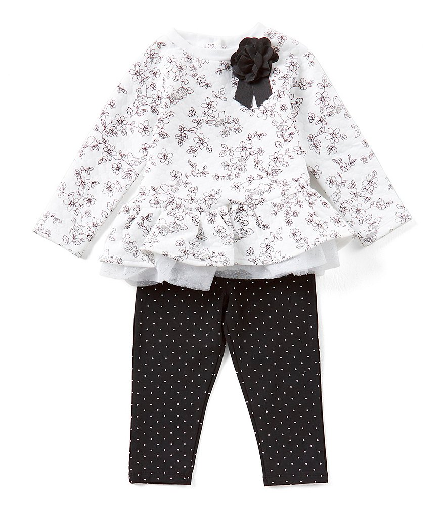Little Me Baby Girls 12-24 Months Floral Tunic & Pindotted Leggings Set