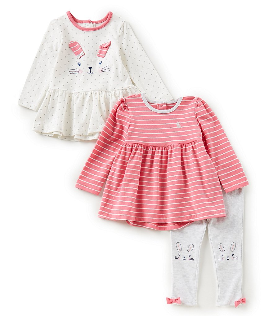 Little Me Baby Girls 12-24 Months Striped Tunic, Bunny Peplum Tunic, Leggings 3-Piece Set