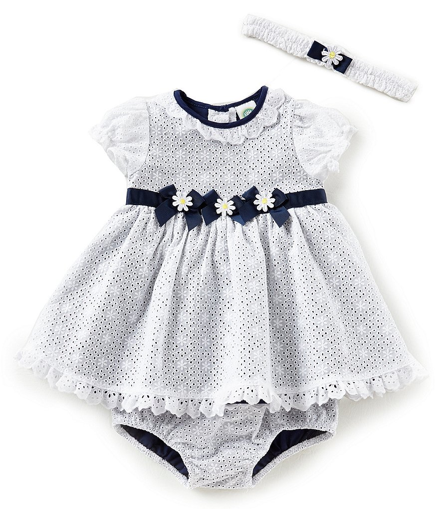 Little Me Baby Girls 3-12 Months Daisy-Patterned Eyelet A-Line Dress