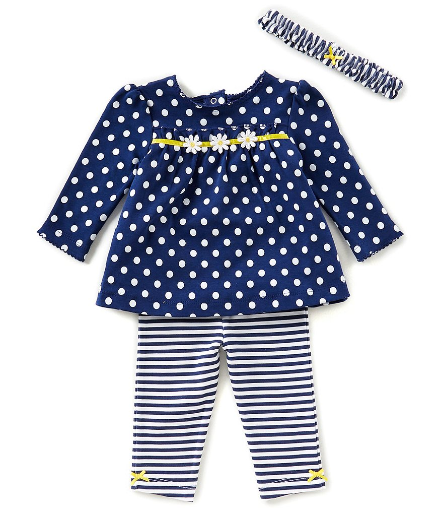 Little Me Baby Girls 3-12 Months Dotted Daisy Top, Striped Leggings, & Headband 3-Piece Set