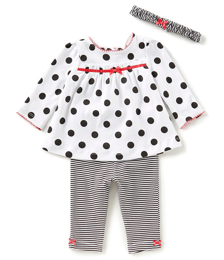 Little Me Baby Girls 3-12 Months Dotted Tunic Top, Striped Leggings, & Headband 3-Piece Set