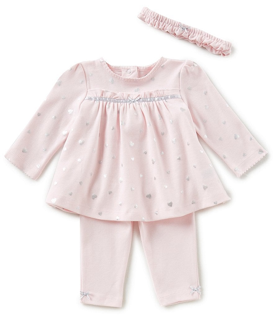 Little Me Baby Girls 3-12 Months Heart-Print Tunic Top, Leggings, & Headband 3-Piece Set