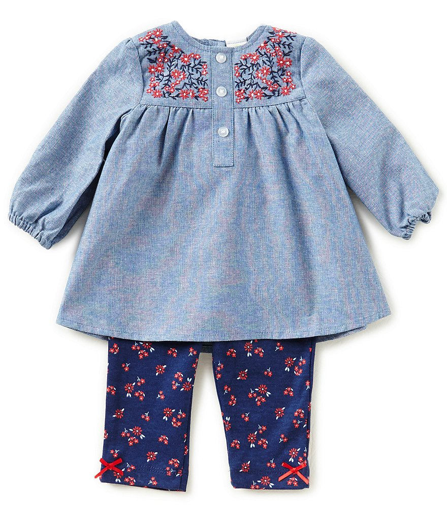 Little Me Baby Girls 3-12 Months Long-Sleeve Chambray Top & Printed Leggings Set
