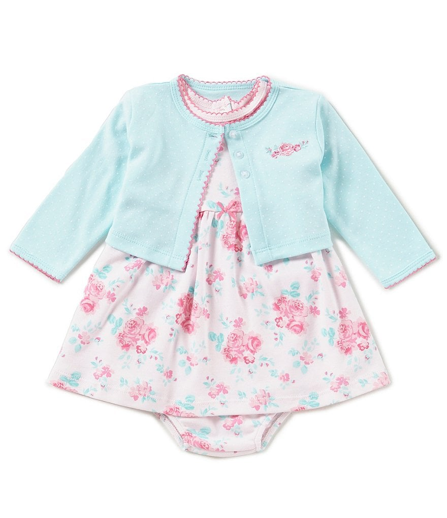Little Me Baby Girls 3-12 Months Pindotted Cardigan & Floral-Printed Dress Set