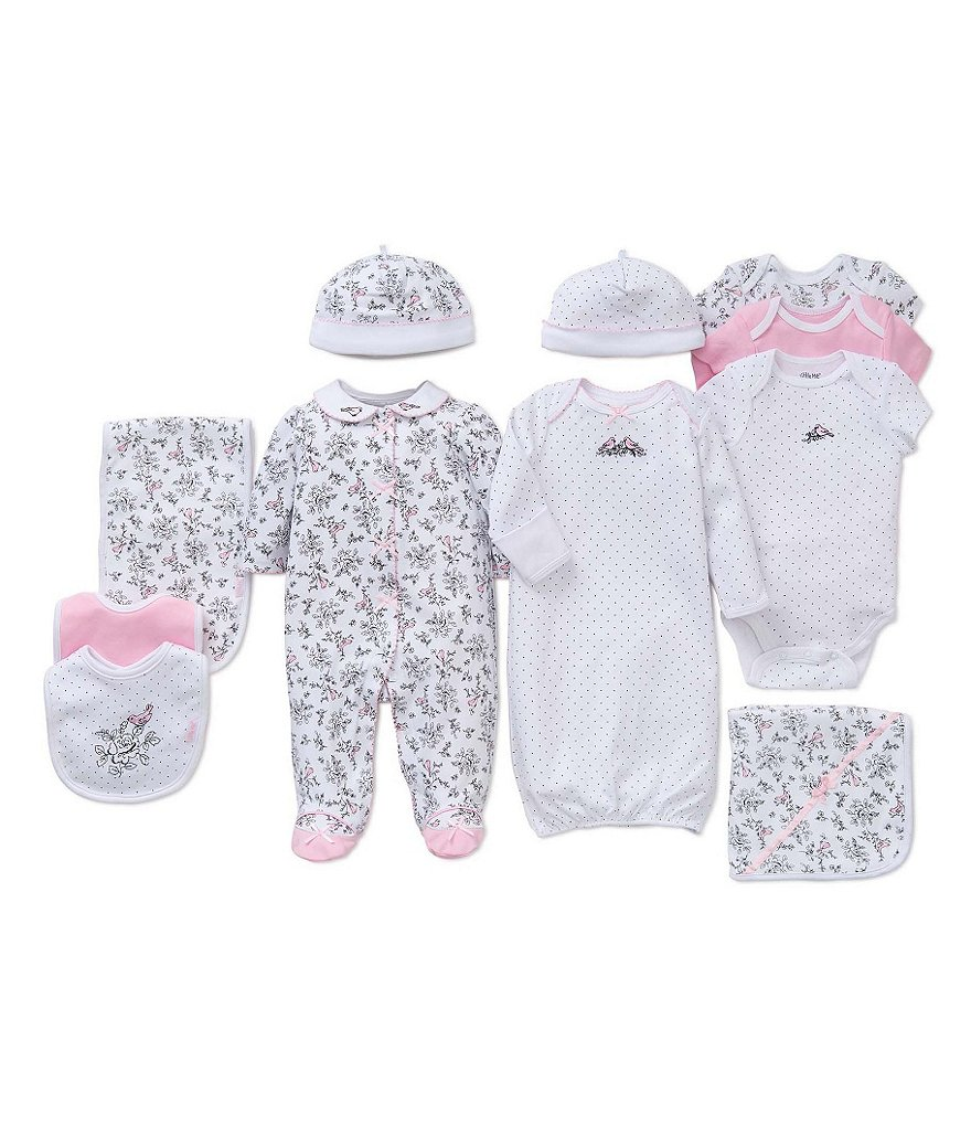 Little Me Baby Girls Preemie-9 Months Footed Coverall/Hat Set, Bib/Burpcloth Set, Gown, and 3-Pack Bodysuits Layette Collection