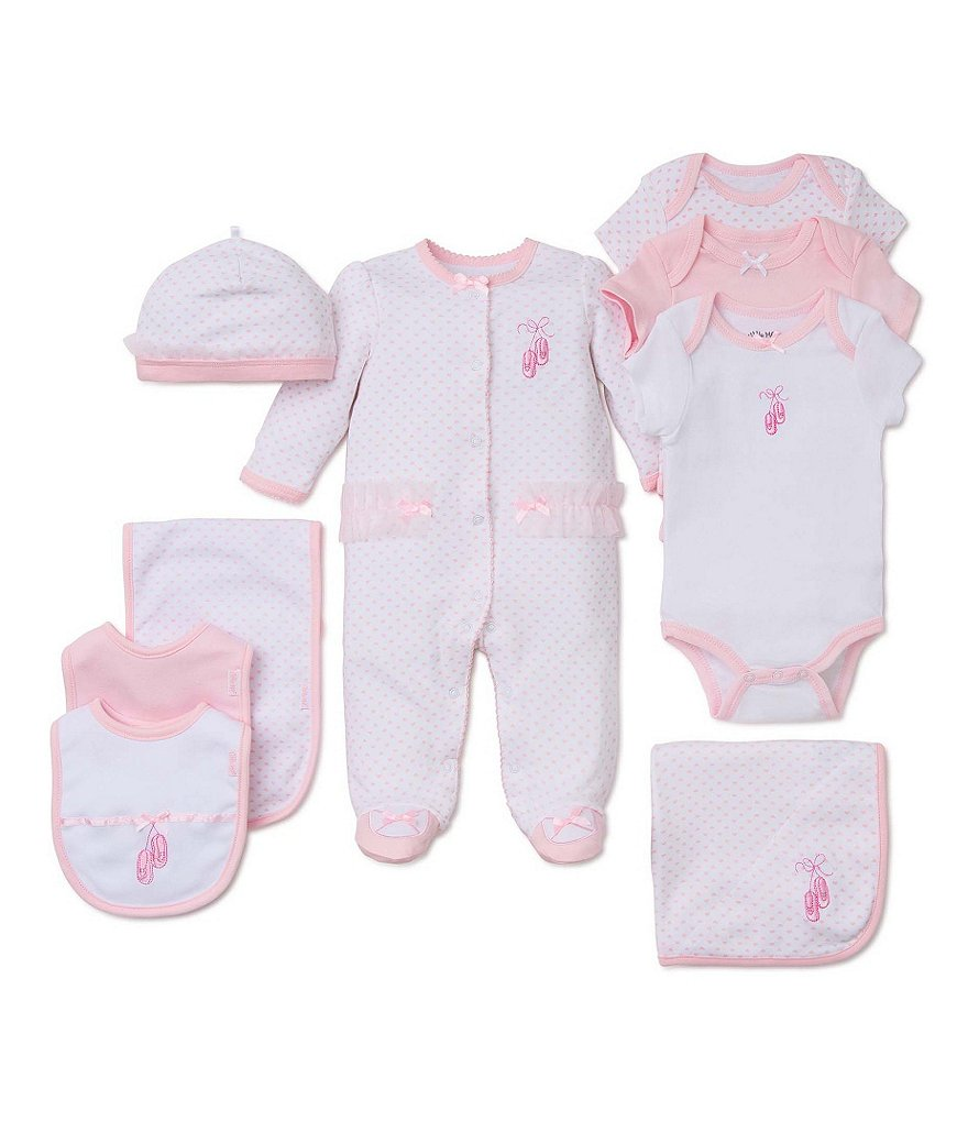 Little Me Baby Girls Preemie-9 Months Prima Ballerina Footed Coverall & Hat Set, Blanket, Bodysuit, & Bib Layette Collection