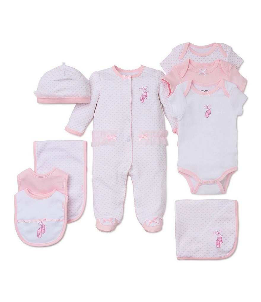 Little Me Baby Girls Preemie-9 Months Prima Ballerina Footed Coverall & Hat Set