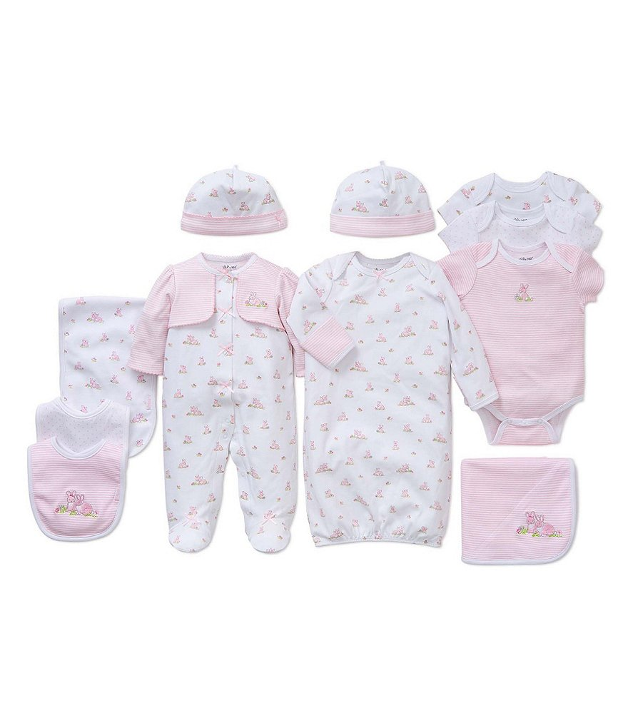 Little Me Baby Girls Preemies-9 Months Baby Bunnies Pieced Footed Coverall and Hat Set, Gown, Blanket Layette Collection