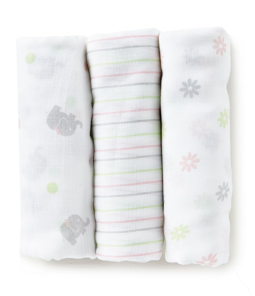 Little Me Baby Girls Sweet Elephant 3-Pack Muslin Swaddle Blankets