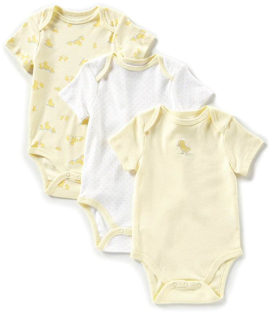 Little Me Baby Newborn-9 Months Short-Sleeve Little Ducks 3-Pack Bodysuit
