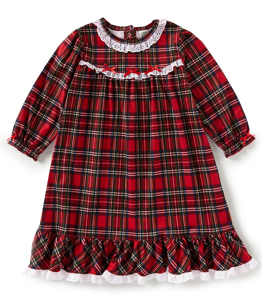 Little Me Little Girls 2T-4T Holiday Plaid Nightgown