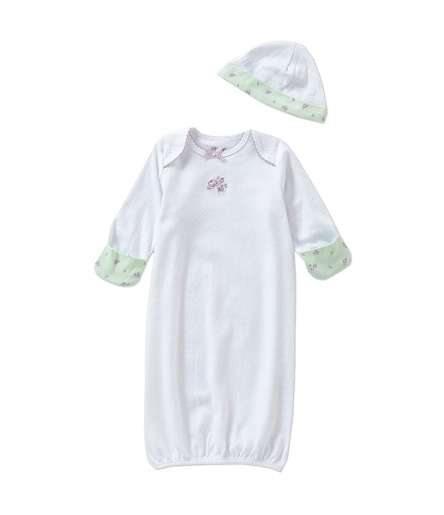 Little Me Newborn-3 Months Petite Roses Gown & Hat Set
