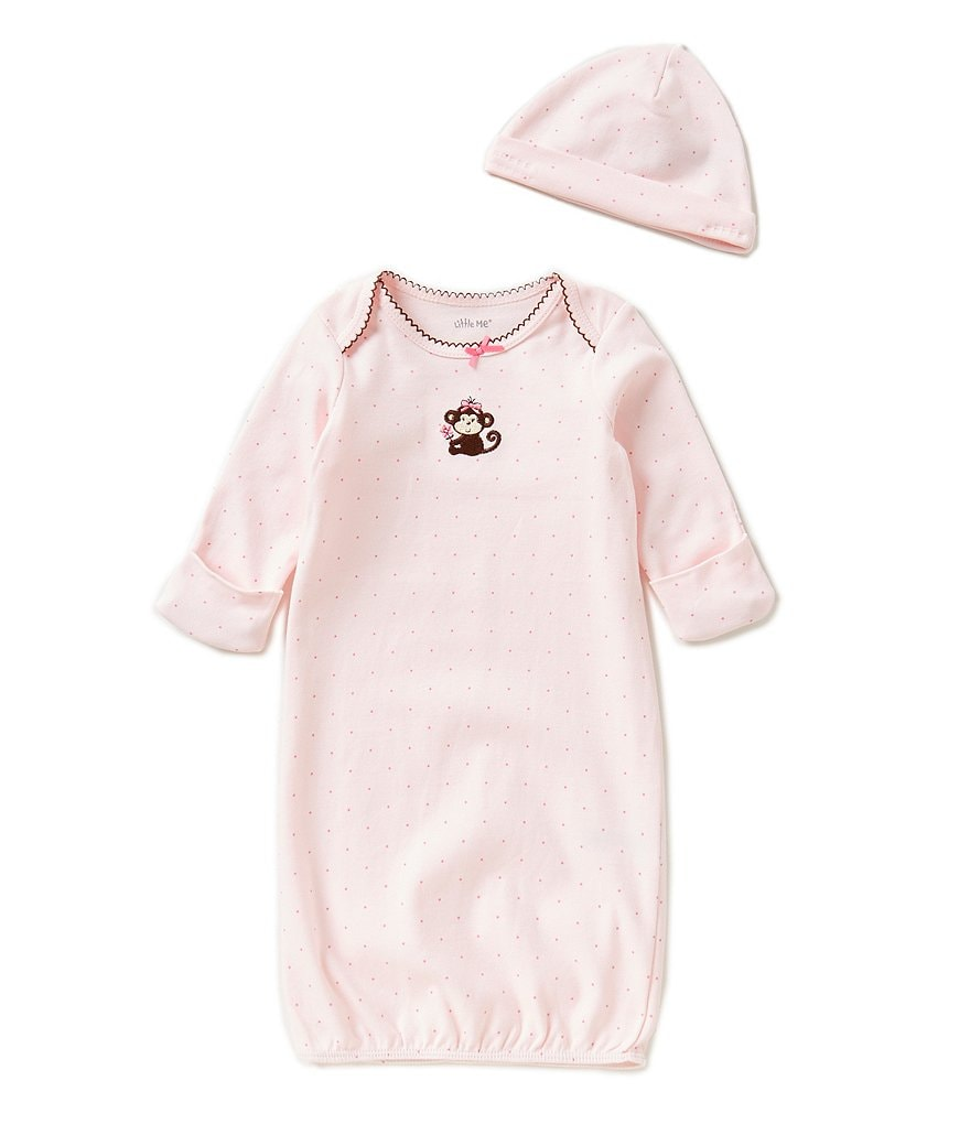 Little Me Newborn-3 Months Pretty Monkey Gown & Hat Set