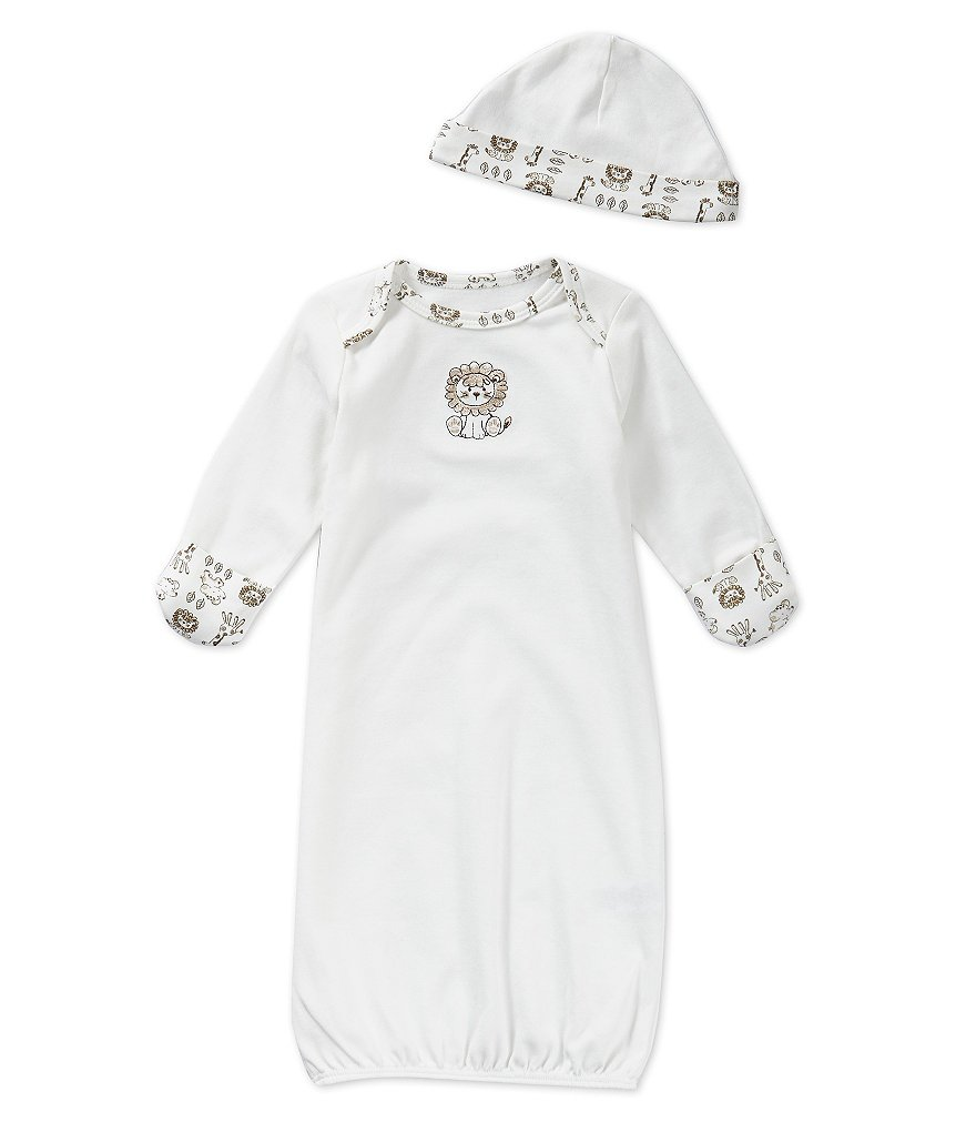 Little Me Newborn-3 Months Safari Gown & Hat Set