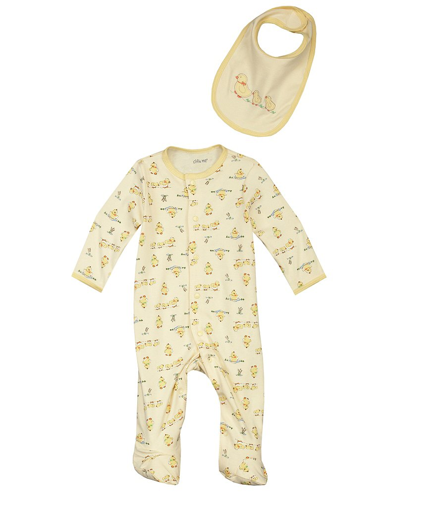 Little Me Newborn-9 Months Duckie Footed Coverall & Bib Set