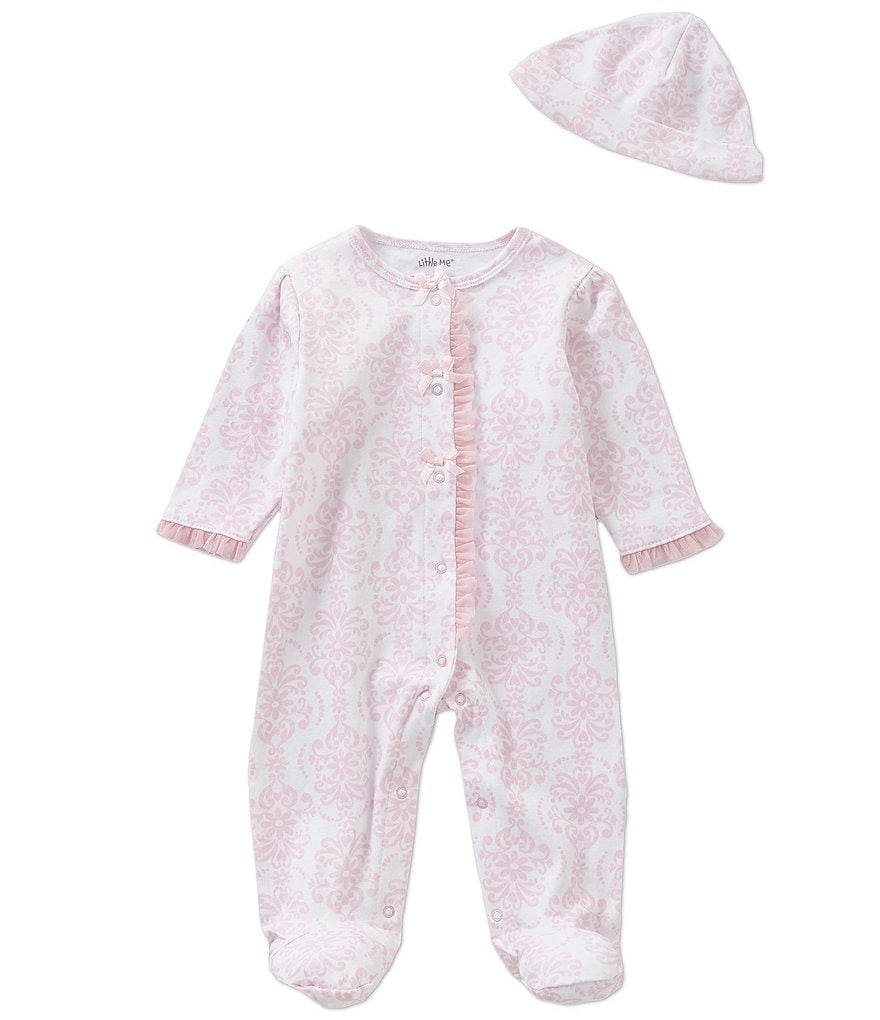 Little Me Preemie-9 Months Damask-Print Footed Coverall & Hat Set