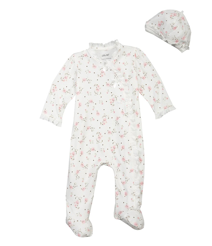 Little Me Baby Girls Preemie-9 Months Vintage Rose Footie Set