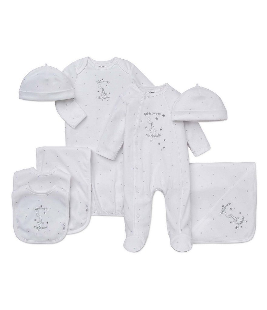 Little Me Welcome to the World Blanket, Footed Coverall & Bib/Burpcloth Layette Collection