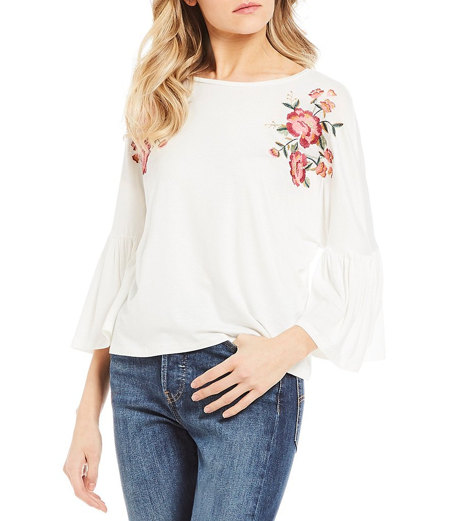 Living Doll Embroidered Ruffle Dolman Sleeve Skimmer Top