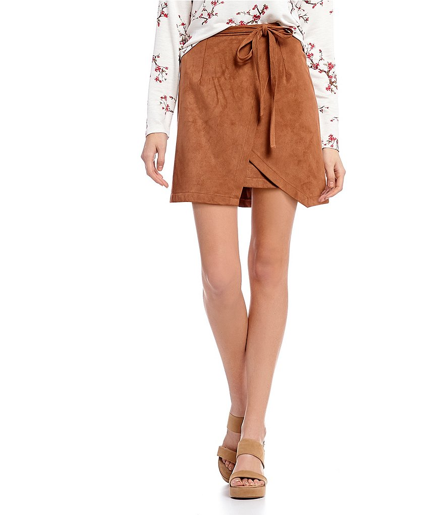 Living Doll Faux Suede Wrap Mini Skirt