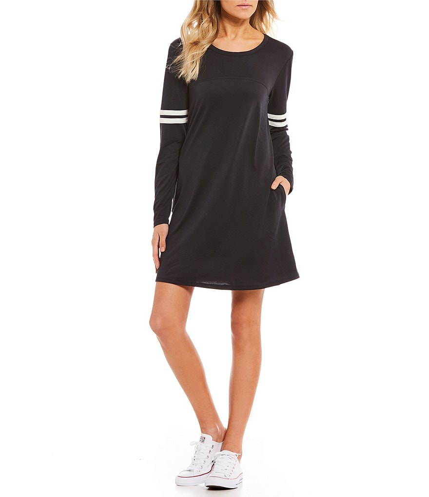 Living Doll Varsity Ringer Long Sleeve T-Shirt Dress